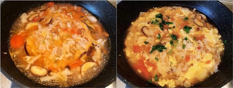Súp cà chua và trứng & đậu
