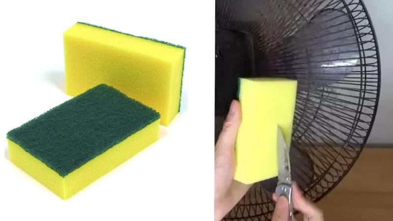 Dùng dao và xúc miếng rửa chén thành các hình vuông nhỏ