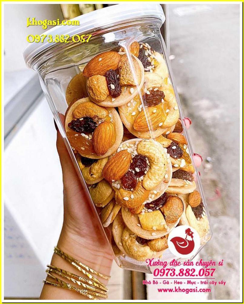 Bánh đồng tiền mix hạt 【lon 350g】